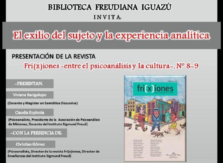 """La Biblioteca Freudiana Iguazú invita a la charla: """"El exilio del sujeto y la experiencia analítica"""""""