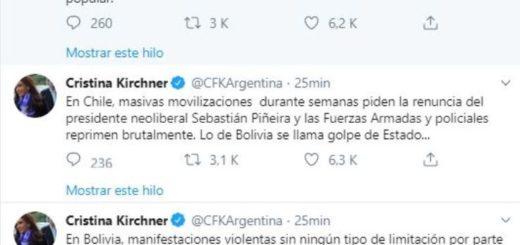 "Cristina Kirchner: ""Lo de Bolivia se llama golpe de Estado"""