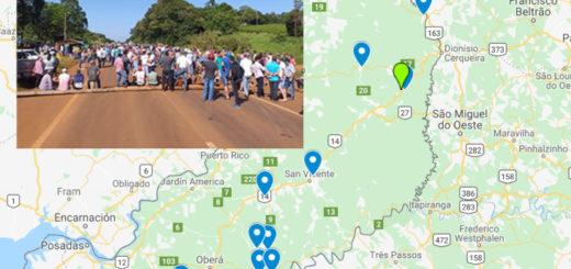 El mapa de los doce cortes de rutas que realizan los tabacaleros este martes en Misiones