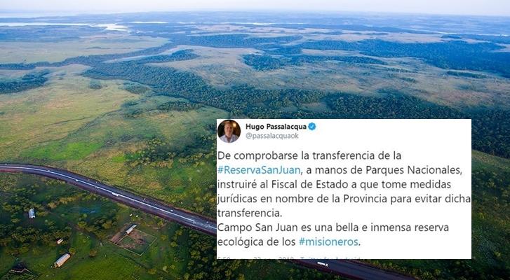 Transferencia de Campo San Juan a Parques Nacionales: Passalacqua adelantó que tomarán medidas jurídicas