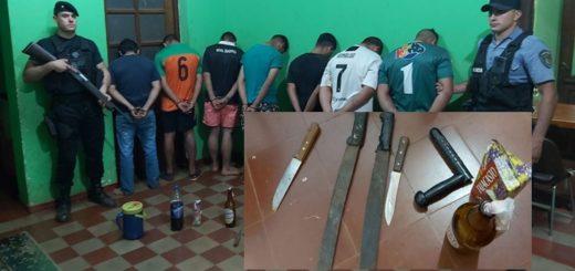 Apóstoles: hay ocho detenidos con armas blancas y una bomba molotov