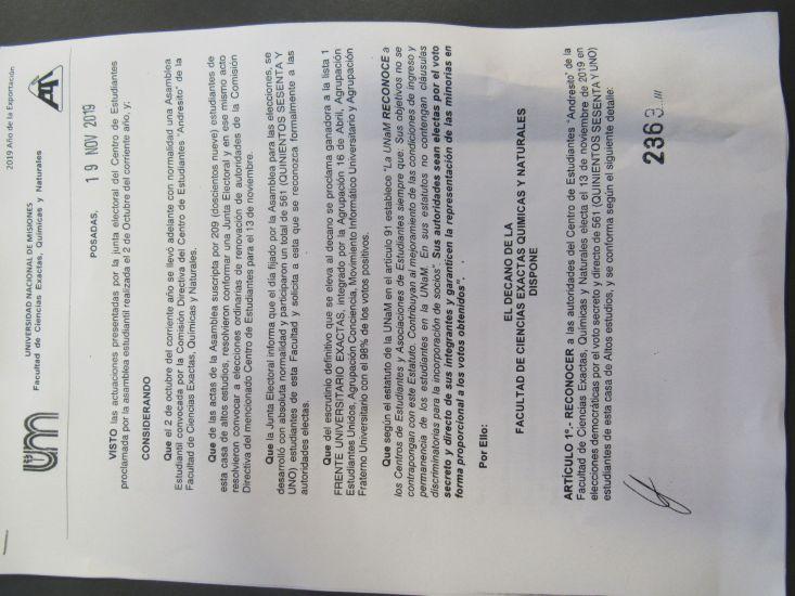 Decano de la FCEQyN de la UNaM rechazó las acusaciones en su contra por una posible intromisión en designación del centro de estudiantes