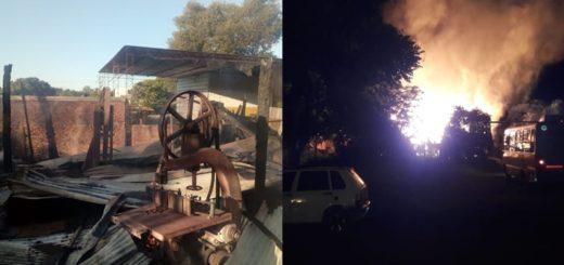 Voraz incendio destruyó totalmente un aserradero y provocó dos heridos en Apóstoles
