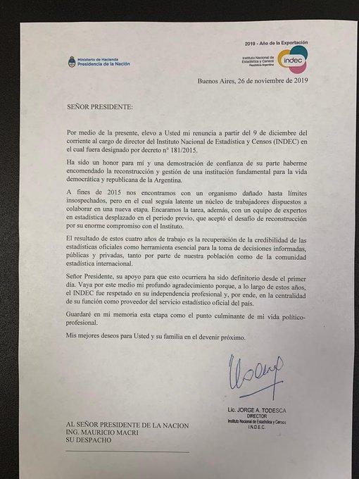 """Con un agradecimiento a Mauricio Macri, Jorge Todesca renunció al INDEC: """"Recuperamos la credibilidad en las estadísticas"""""""