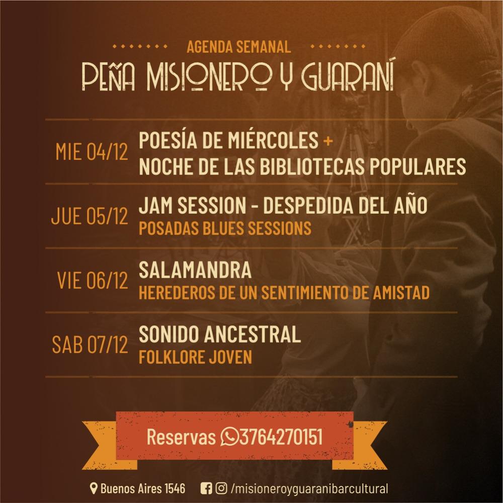 Programación artística de la Peña Misionero y Guaraní de esta semana