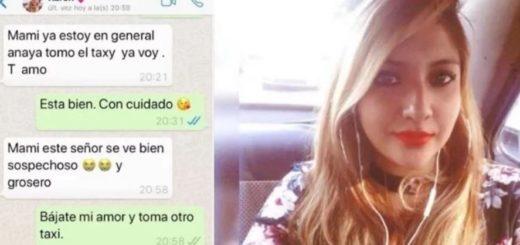 """""""Mami, este señor se ve sospechoso"""": el último mensaje de una joven que desapareció luego de tomarse un taxi"""