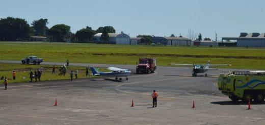 Simularon el accidente de dos avionetas en el aeropuerto de Posadas como parte de un entrenamiento