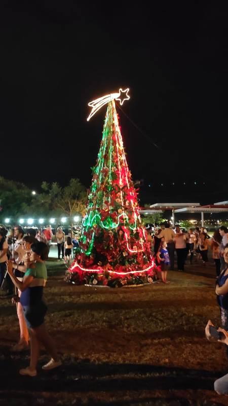 Se realizó el encendido del árbol del programa municipal Mejor Arte en la Costanera