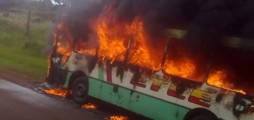 Se incendió un colectivo en la localidad de 9 de Julio