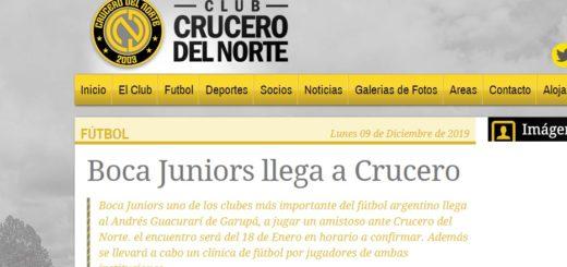 Crucero del Norte ya promociona el amistoso con Boca Juniors en su Web...Ingresá aquí y adquirí las entradas por Internet