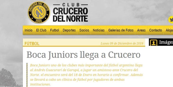 Crucero del Norte ya promociona el amistoso con Boca Juniors en su Web…Apurate: ingresá aquí y adquirí las entradas por Internet