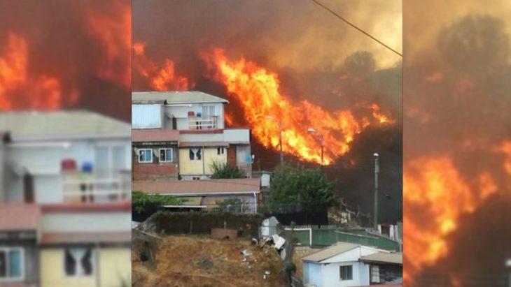 Chile: un incendio forestal que ya arrasó con 100 hectáreas y 120 casas en Valparaíso