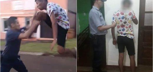 Filmaron a un joven ebrio y descontrolado agrediendo a un policía en Apóstoles