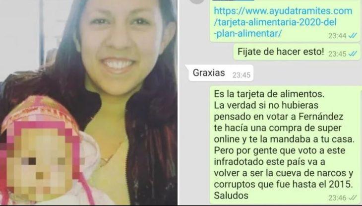 """Pidió ayuda para darle de comer a su hija y una """"anti k"""" se burló de ella por votar a Alberto Fernández"""