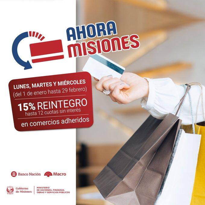 Lunes, martes y miércoles está vigente el Ahora Misiones con reintegro del 15%