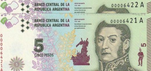 Los billetes de 5 pesos podrán utilizarse por un mes más