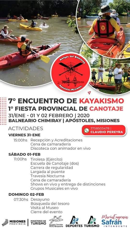 Todo listo para el 7° Encuentro de Kayakismo y 1° Fiesta Provincial de Canotaje