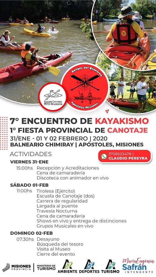 Se viene la primera Fiesta Provincial del Canotaje y 7° Encuentro de Kayakismo en Apóstoles