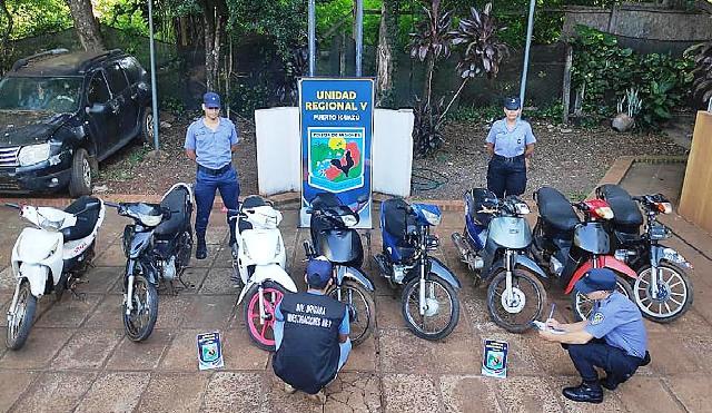 La Policía recuperó 10 motos robadas en Puerto Iguazú