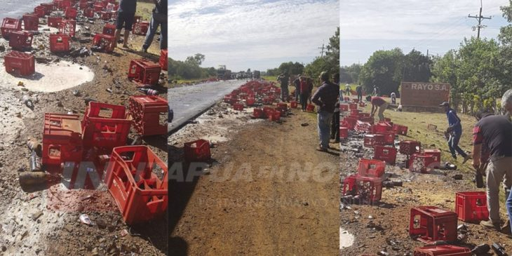 Video: un cargamento de cerveza terminó en el asfalto tras una mala maniobra del conductor