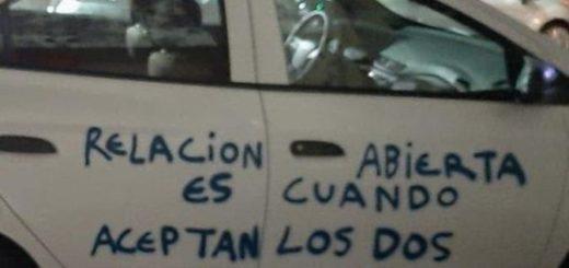 Le bloquearon en WhatsApp y descargó su ira pintando con aerosol el auto. Mira el mensaje que dejó