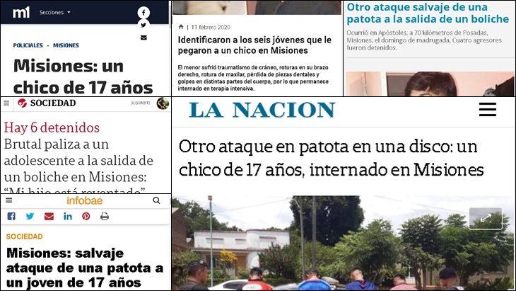 Cómo reflejaron los medios nacionales el caso de Valentín Monzón, publicado por Misiones Online