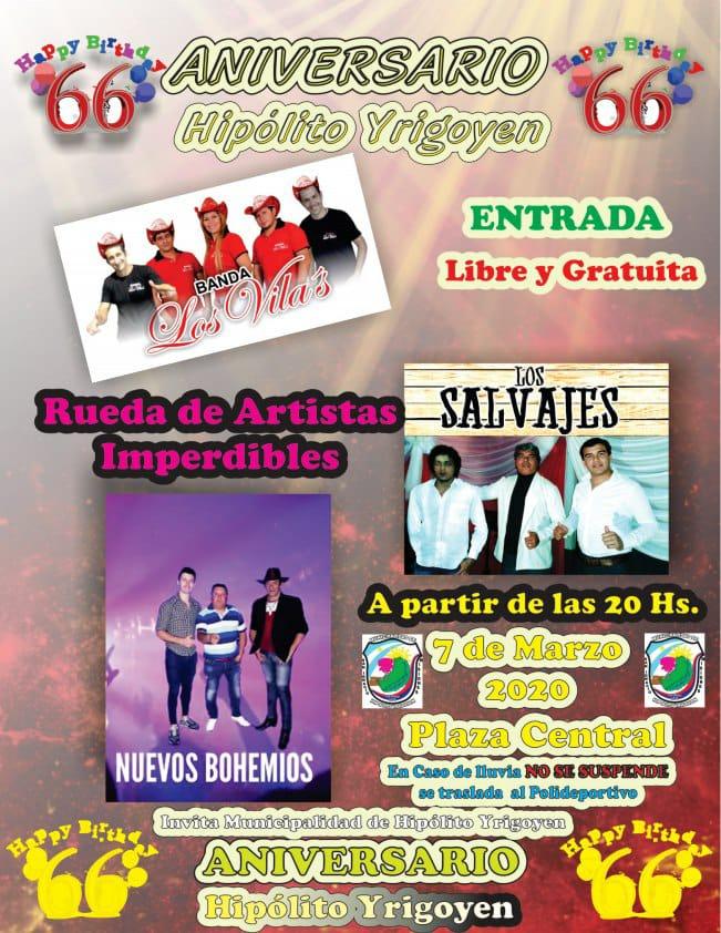 Este viernes el municipio de Hipólito Yrigoyen celebrará su 66º aniversario con dos días a pura fiesta