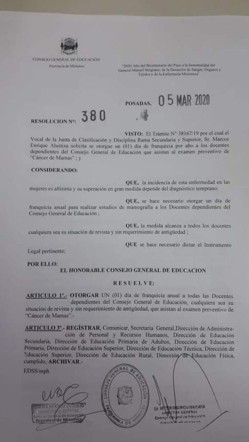 #MesDeLaMujer: docentes dependientes del CGE dispondrán de un día para chequeos de cáncer de mama