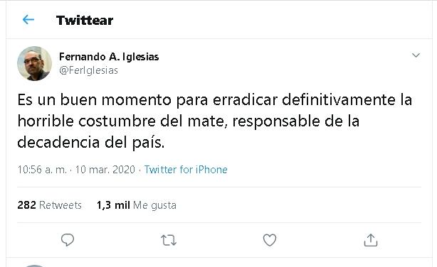 """Irónico, un diputado de Cambiemos opinó en pleno avance del coronavirus y pidió """"erradicar el mate"""", costumbre a la que responsabilizó por la """"decadencia del país"""""""