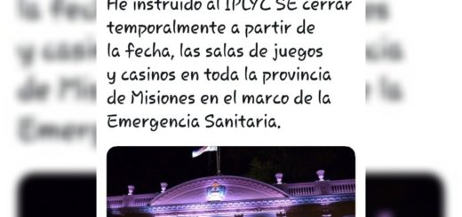 Por disposición de Oscar Herrera Ahuad, se cierran las salas de juegos y casinos de todo Misiones