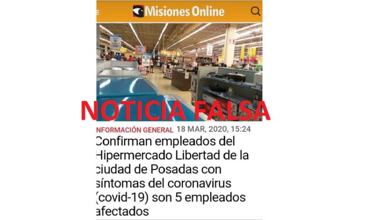 Fake News: alertamos e incitamos al chequeo de fuentes ante la circulación de noticias falsas que involucran al Hipermercado Libertad y Misiones Online