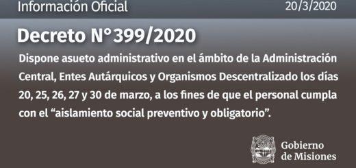 El Gobierno provincial decretó asueto administrativo los días 20, 25, 26, 27 y 30 de marzo
