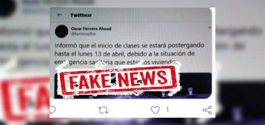 Coronavirus: es falso el tuit donde el gobernador Oscar Herrera Ahuad supuestamente anuncia la prórroga de la suspensión de clases en Misiones