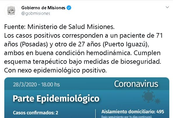 Coronavirus: confirmaron el segundo caso en Misiones