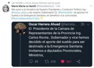 Coronavirus: tras el anuncio de Herrera Ahuad y de Rovira, una oleada de funcionarios y dirigentes anuncian que también donarán sus sueldos