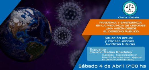 Coronavirus: brindarán una charla-debate sobre la pandemia y la emergencia en Misiones, abordado desde el derecho público