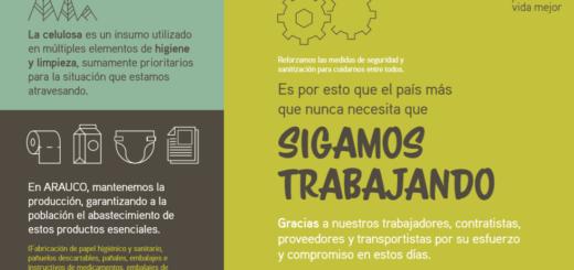 Arauco mantiene su producción para garantizar el abastecimiento de los productos esenciales de la población
