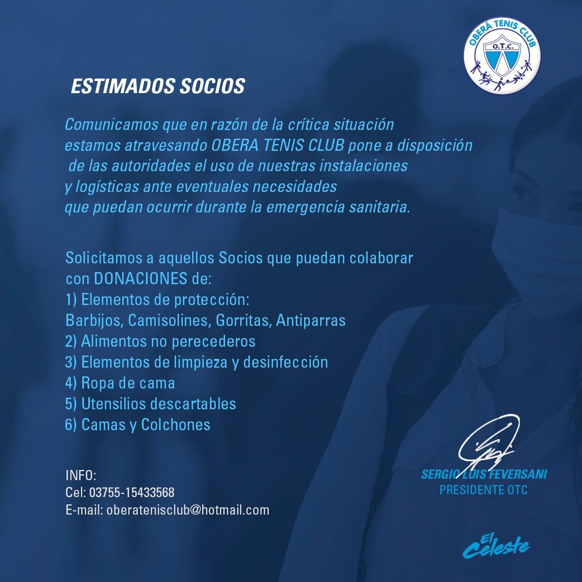 Coronavirus: OTC pondrá a disposición sus instalaciones en caso de necesidad sanitaria