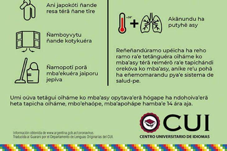 Coronavirus: tradujeron las medidas preventivas a lenguas originarias