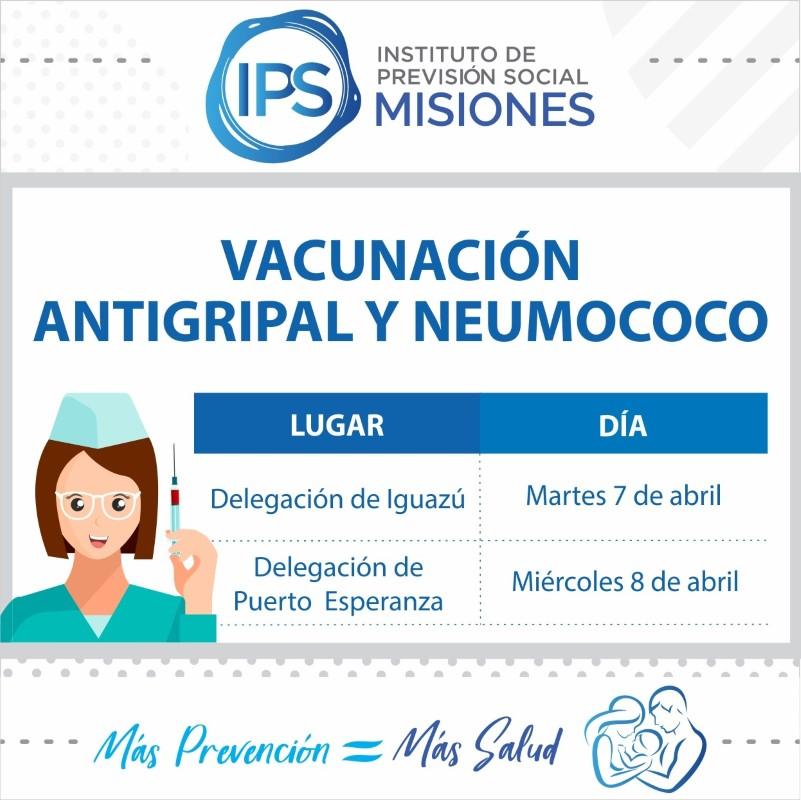 El IPS estará aplicando vacunación antigripal y contra el neumococo en Iguazú y en Puerto Esperanza