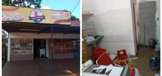 Delincuentes aprovecharon la tormenta para robar una pollería en Posadas: tras destrozar el local dejaron una nota pidiendo disculpas