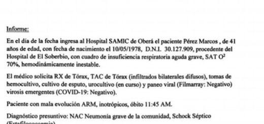 Falso caso de coronavirus en El Soberbio: la hija de la persona acusada difundió el resultado negativo para Covid-19