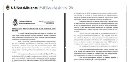Coronavirus: Julio Piumato pidió en duros términos al Superior Tribunal de Justicia que dé marcha atrás en la acordada que establece trabajo presencial en la Justicia de Misiones
