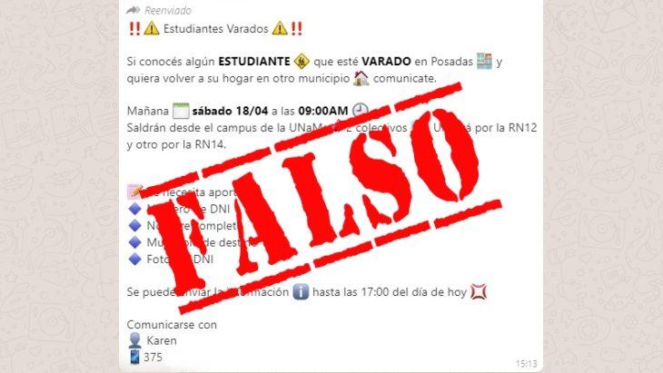 Cuarentena: advierten sobre un aviso en WhatsApp sobre un supuesto traslado de universitarios varados en Posadas