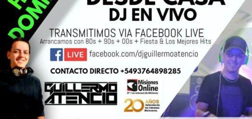 Hoy nuevamente vas a poder bailar desde tu casa con la música del DJ Guillermo Atencio en vivo.