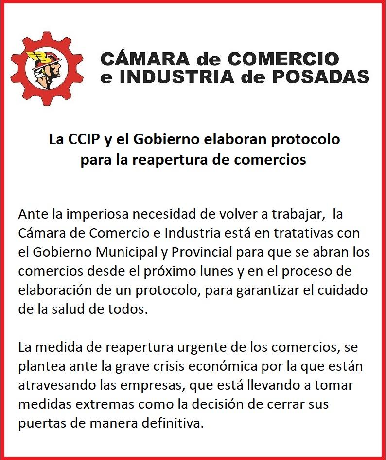 Coronavirus: en reunión con el Intendente, la Cámara de Comercio pidió por la reapertura de los negocios en Posadas