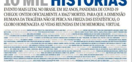 La impactante portada de O'Globo en homenaje a los muertos por coronavirus en Brasil