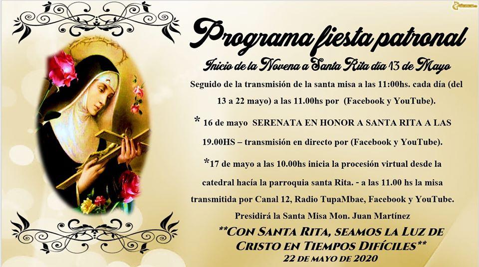 Anuncian actividades por el inicio de la novena a Santa Rita en Posadas
