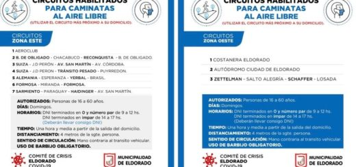 Coronavirus: en Eldorado se podrán realizar caminatas recreativas los domingos