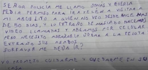 La conmovedora carta que un nene le escribió a un policía para que lo deje viajar a ver a su abuelo